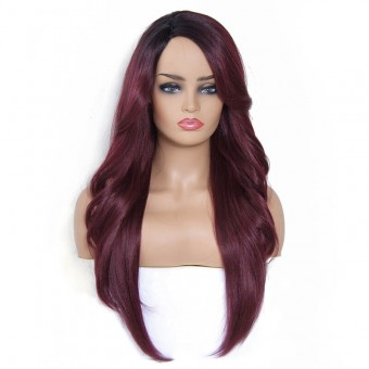 AfricanMall Side Part Body Wave & Straight Hair Style Mixed Synthetic Wig color-DRBG