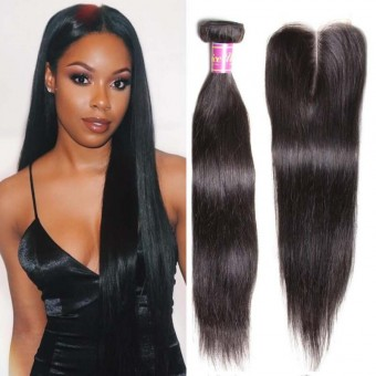 Unice Malaysian Straight Virgin Hair With 4 Inch Closure