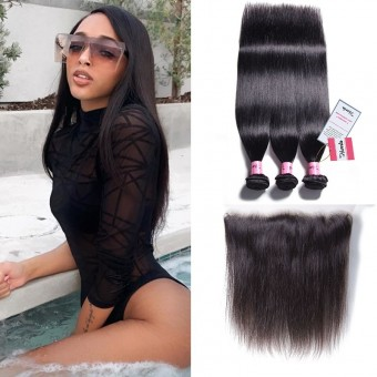 Straight Virgin Hair Wave With 13*4 Lace Frontal Closure
