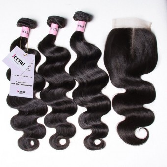 UNice Icenu Series 3 Bundles Brazilian Body Wave With Lace Closure