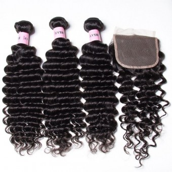 UNice Icenu Series 3 Bundles Deep Weave With 44 Lace Closure
