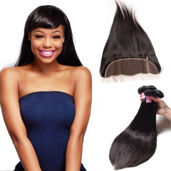 UNice Icenu Series 4 Bundles Straight Brazilian Hair With Frontal