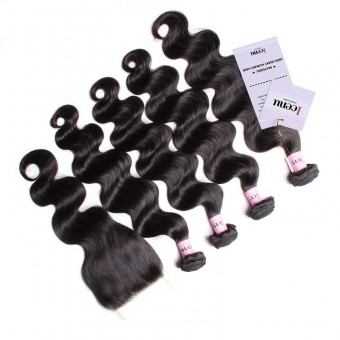 UNice Icenu Series Body Wave Lace Closure 4 Bundles Brazilian  Hair