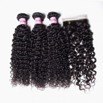 UNice Icenu Series Brazilian Curly Hair Weave With 44 Lace Closure