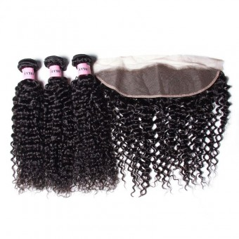 UNice Icenu Series Brazilian Curly Weave Hair With Lace Frontal