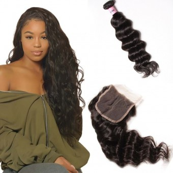 UNice Icenu Series Brazilian Natural Wavy Hair With 44 Lace Closure