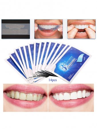 14pcs/pac Whitening Teeth Dental Oral Hygiene Care Stickers