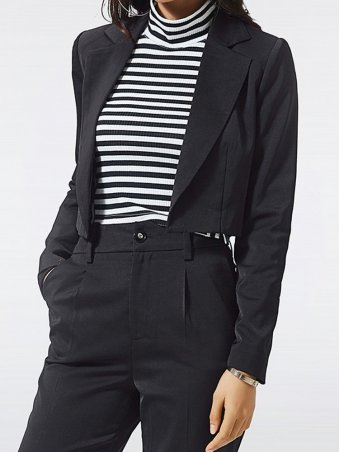 JurllyShe Lapel Neck Short Blazer With Pants Offical Suits