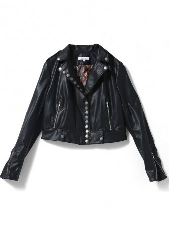 JurllyShe Black Lapel PU Jacket