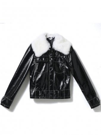 JurllyShe Fur Collar PU Jacket