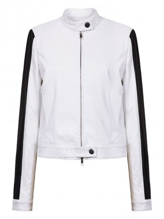 JurllyShe Spliced Long Sleeves Stand Collar Zipper Jacket