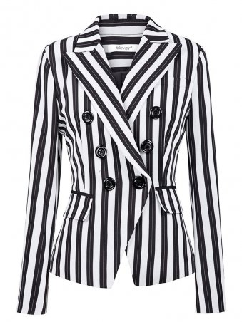 JurllyShe Striped Double Breasted Long Sleeves Blazers