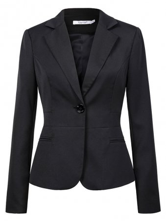 JurllyShe Lapel Neck Single Button Long Sleeve Blazers