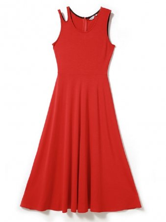 JurllyShe Round Neck Sleeveless Pleated Dress