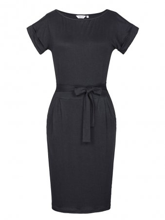 JurllyShe Short Sleeves Belted Solid Bodycon Dress