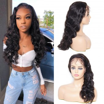 AfricanMall 150% Density 360 Lace Frontal Body Wave Human Hair Wig With Baby Hair