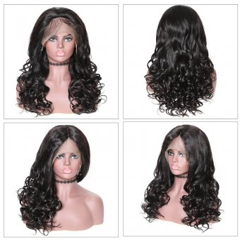 AfricanMall 180% Density 360 Lace Frontal Natural Wave With Bangs Human Hair Wig