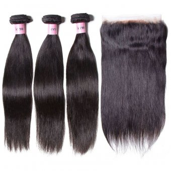 AfricanMall 3 Bundles Straight Virgin Human Hair With 360 Lace Frontal Closure