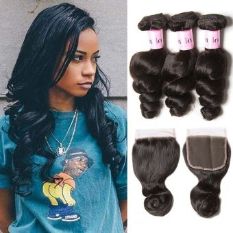 AfricanMall 3 Bundles Loose Wave Human Hair Weave With 4*4inch Lace Closure
