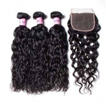 AfricanMall 3 Bundles Water Wave With 4*4 Lace Closure Virgin Human Hair
