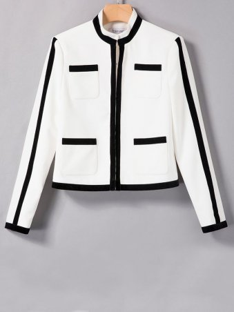 JurllyShe White & Black Spliced Square Pockets Jacket