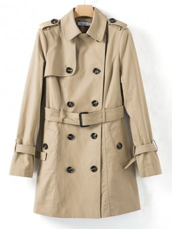 JurllyShe Casual Double Breasted Long Sleeves Belted Coat