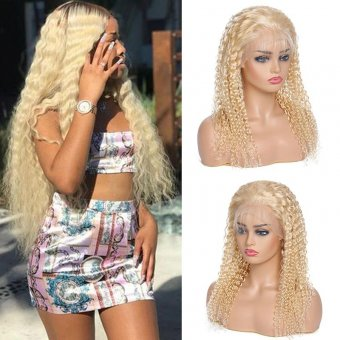 AfricanMall 150% Density 613 Blonde Kinky Curly 13*4 Lace Front Human Hair Wig
