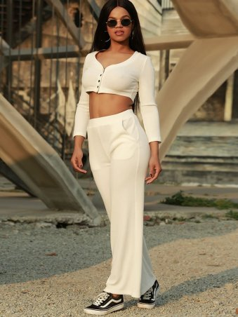 JurllyShe Single Breasted V-neck Crop Top & Pocket Design Straight Pants set