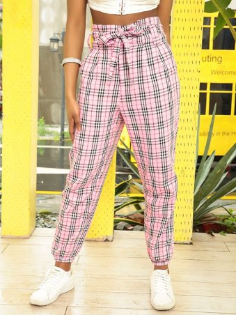 JurllyShe Belted Casual Plaid Pants Women