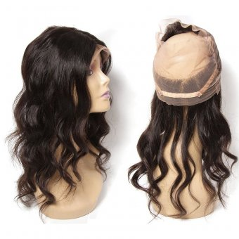 AfricanMall Body Wave 360 Full Lace Frontal Virgin Human Hair Closure