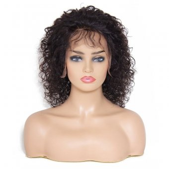 AfricanMall Natural Hairline 12inch Curly Lace Front Human Hair Wigs With Baby Hair