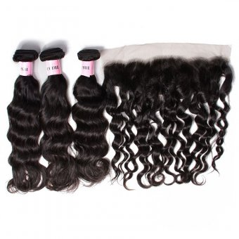 AfricanMall 3 Bundles Virgin Natural Weave Human Hair With 13*4 Lace Frontal Closure
