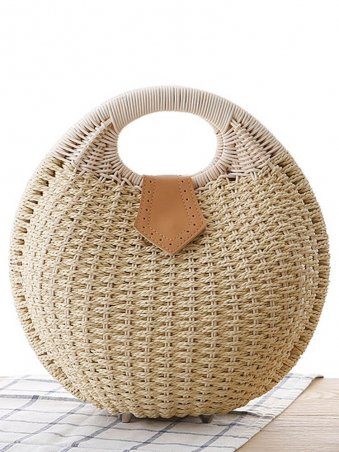 Shell Shaped Woven Detail Tote Bag-Beige