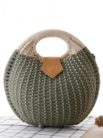 Shell Shaped Woven Detail Tote Bag-Army Green