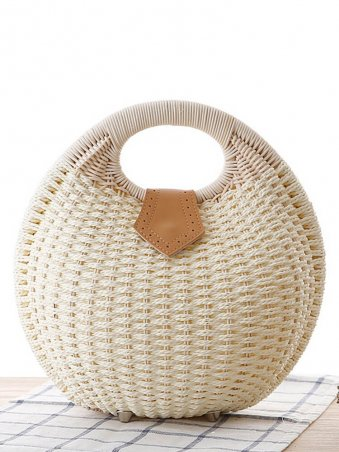 Shell Shaped Woven Detail Tote Bag-White