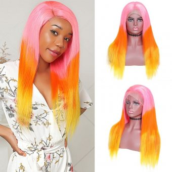 AfricanMall 130% Density Rainbow Mermaid Colorful 134 Straight Lace Front Human Hair Wig
