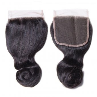 """AfricanMall Loose Wave 4*4"""" Lace Closure Virgin Human Hair"""