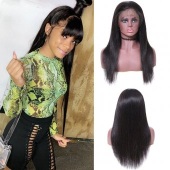 AfricanMall Silky Straight Human Hair Natural Black Color Lace Front Wigs For Women