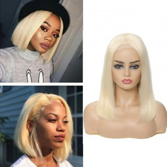 AfricanMall 150% Density 13*4 Lace Frontal  #613 Blonde Bob Straight Human Hair Wig
