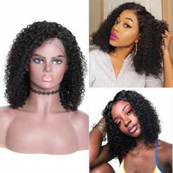 AfricanMall 180% Density 13*4 Lace Front Bob Jerry Curly Human Hair Wig
