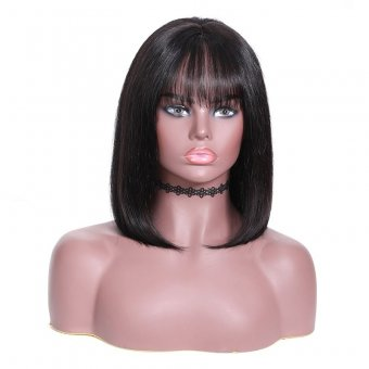 AfricanMall Bob Straight Lace Frontal Wig With Bangs Pre Plucked Bob Human Hair Wig With Baby Hair