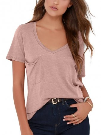 JurllyShe Casual Style V-neck Front Pocket T-shirt