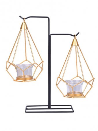 Creative Home Decor Gold  Iron And Glass Candle Holders