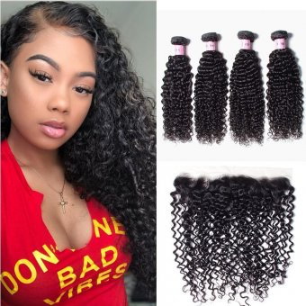 AfricanMall 4 Bundles Curly Wave Human Hair With 13*4 Lace Frontal Closure