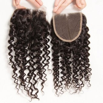 AfricanMall  4*4 Curly Wave Lace Closure 100% Human Virgin Hair Closure