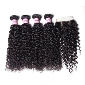 AfricanMall 4pcs Brazilian Curly Weave Hair Bundles With Lace Closure