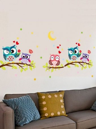 Cute Owl Theme Wall Stickers for Baby Toddler Boys & Girls Rooms