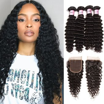 AfricanMall 4 Bundles Deep Wave Hair With 4*4 Lace Closure Virgin Human Wavy Hair