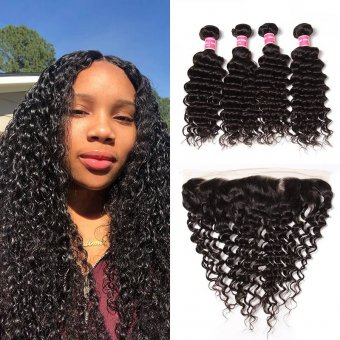 AfricanMall 4 Bundles Virgin Deep Wave Human Hair With 13*4 Lace Frontal Closure