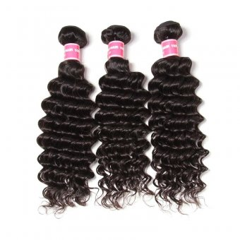 AfricanMall Deep Wave Virgin Human Hair 3 Pieces Hair Wefts Bundles